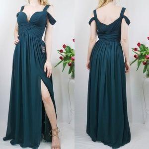 Lulus Ocean of Elegance Hunter Green Maxi Dress